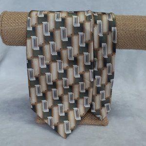 Pierre Cardin Men's Tie Abstract Silk Brown Green